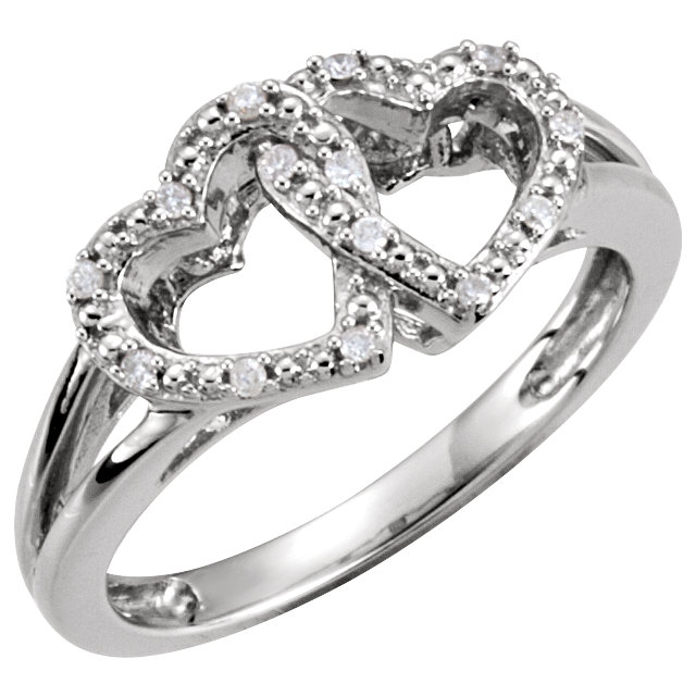 Jewelry in Sterling Silver .05 Carat TW Diamond Double Heart Design Ring Size 5