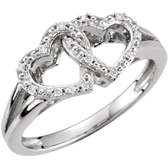 Genuine  Sterling Silver .05 Carat TW Diamond Double Heart Design Ring Size 6