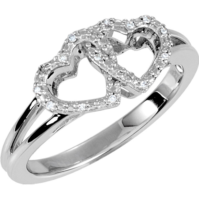 Very Nice Sterling Silver .05 Carat Total Weight Diamond Double Heart Design Ring Size 7