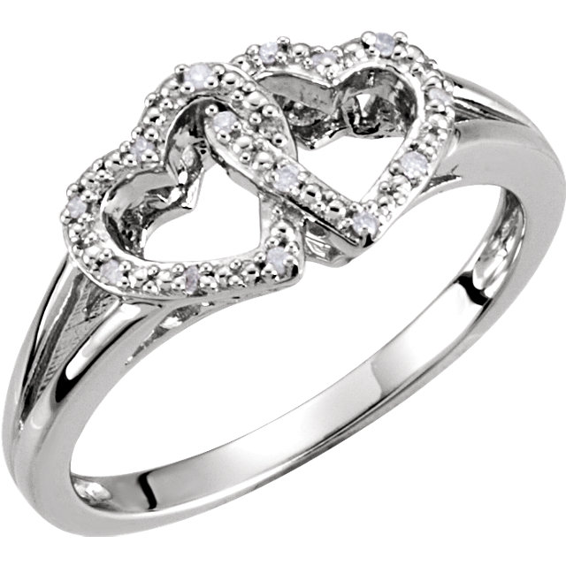 Fine Quality Sterling Silver .05 Carat Total Weight Diamond Double Heart Design Ring Size 8