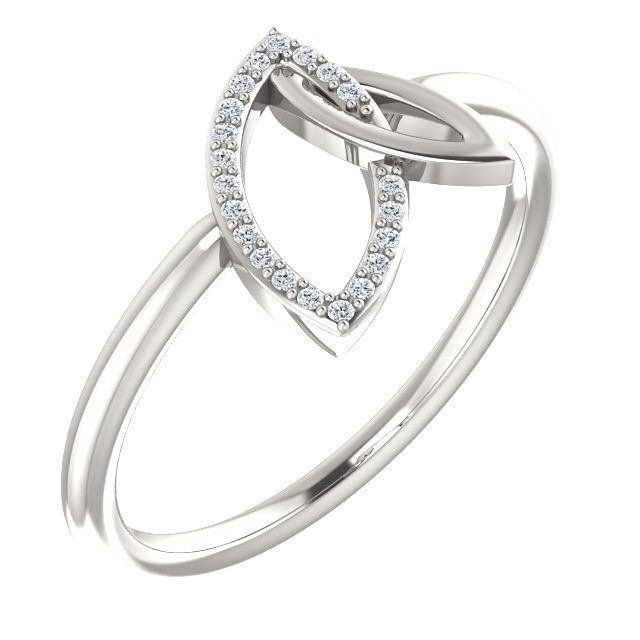 Great Deal in Sterling Silver .05 Carat Total Weight Diamond Double Leaf Ring
