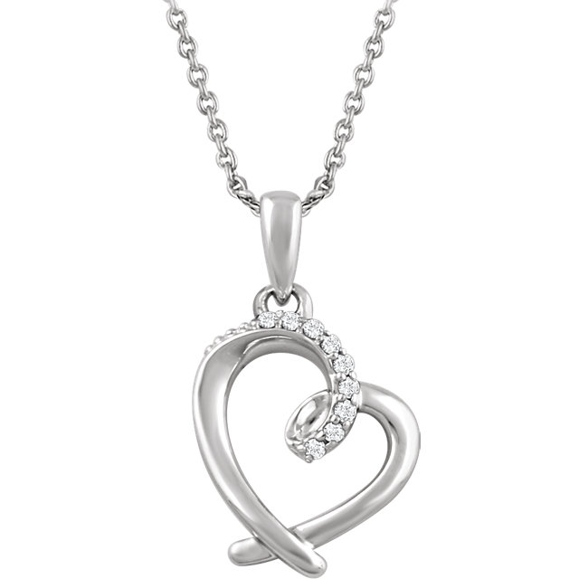 Terrific Sterling Silver .05 Carat Total Weight Round Genuine Diamond Heart 16-18