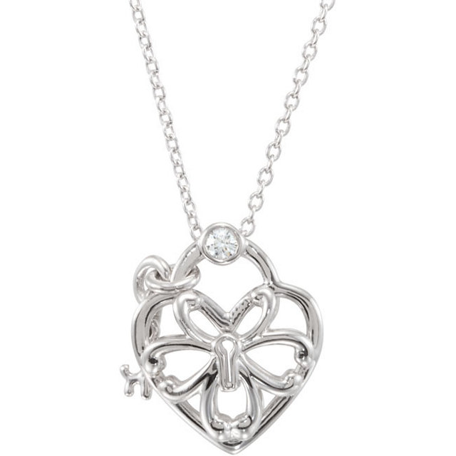 Sterling Silver .05 Carat TW Diamond Heart 18