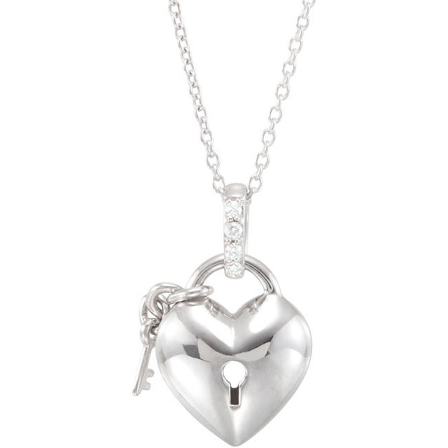 Extraordinary Sterling Silver .05 Carat Total Weight Round Genuine Diamond Heart 18