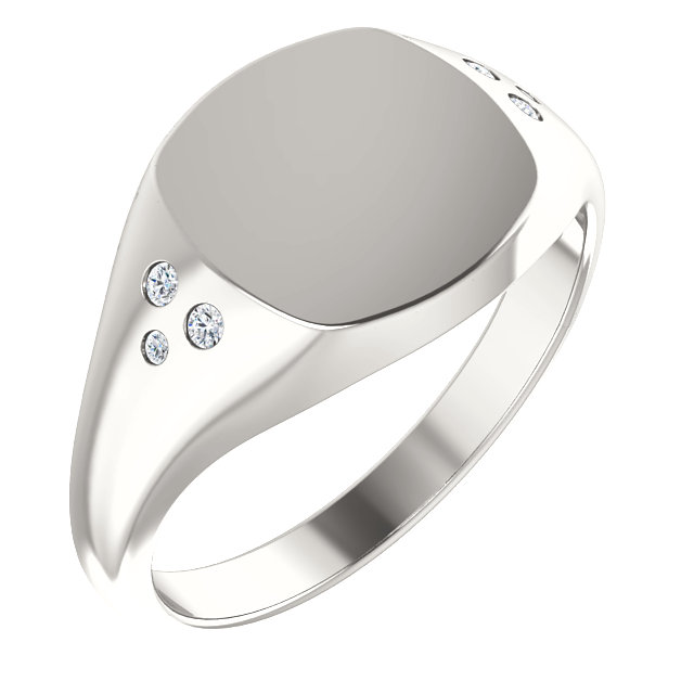 Perfect Jewelry Gift Sterling Silver .05 Carat Total Weight Diamond Ladies Signet Ring