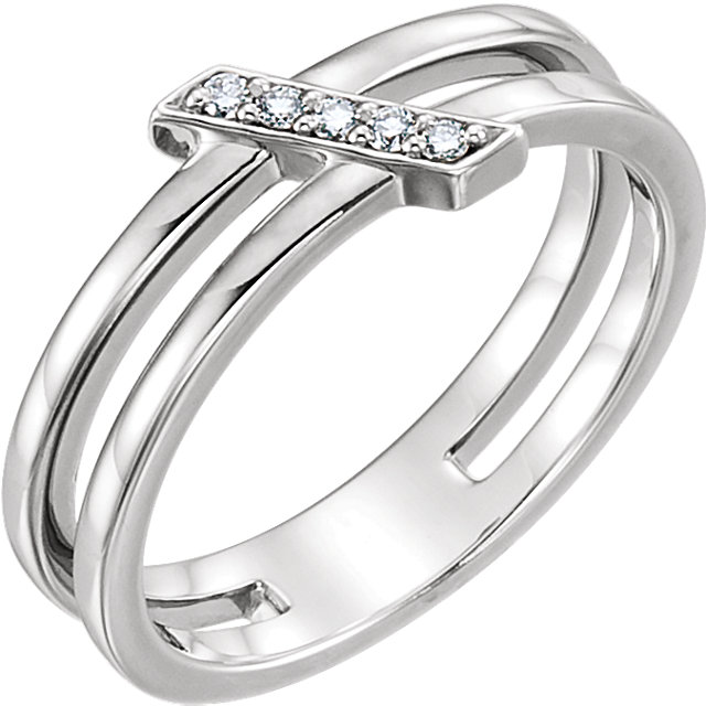 Easy Gift in Sterling Silver .05 Carat Total Weight Diamond Bar Ring