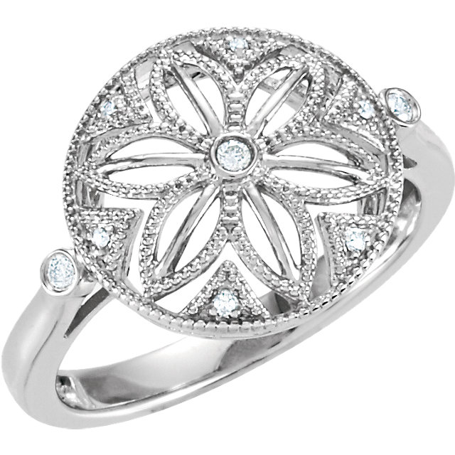 Surprise Her with  Sterling Silver .05 Carat Total Weight Diamond Ring Size 7