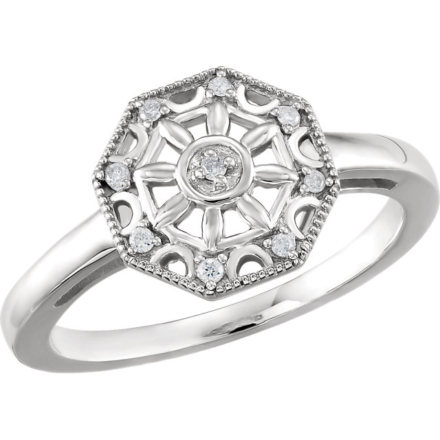 Appealing Jewelry in Sterling Silver .05 Carat Total Weight Diamond Ring Size 7