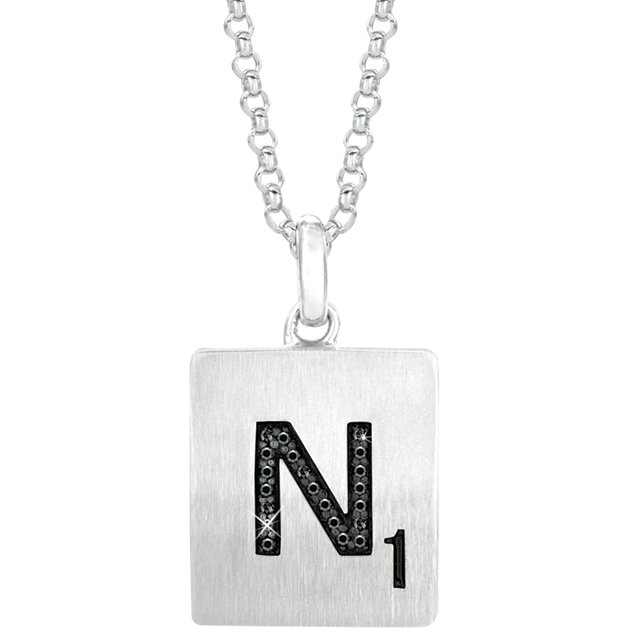 Sterling Silver .06 Carat Total Weight Black Diamond Letter