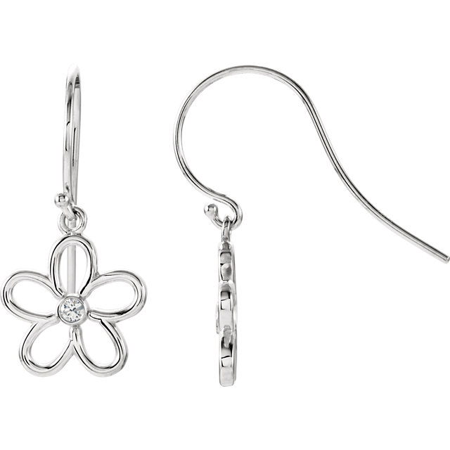 Great Gift in Sterling Silver .06 Carat Total Weight Diamond Flower Earrings