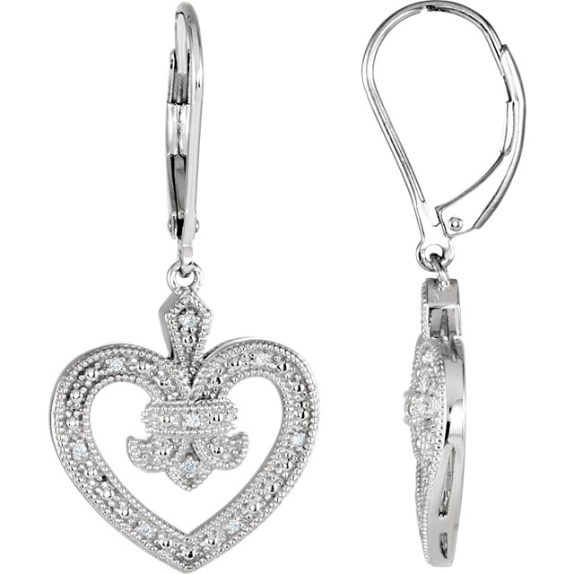 Attractive Sterling Silver .06 Carat Total Weight Round Genuine Diamond Heart Lever Back Earrings