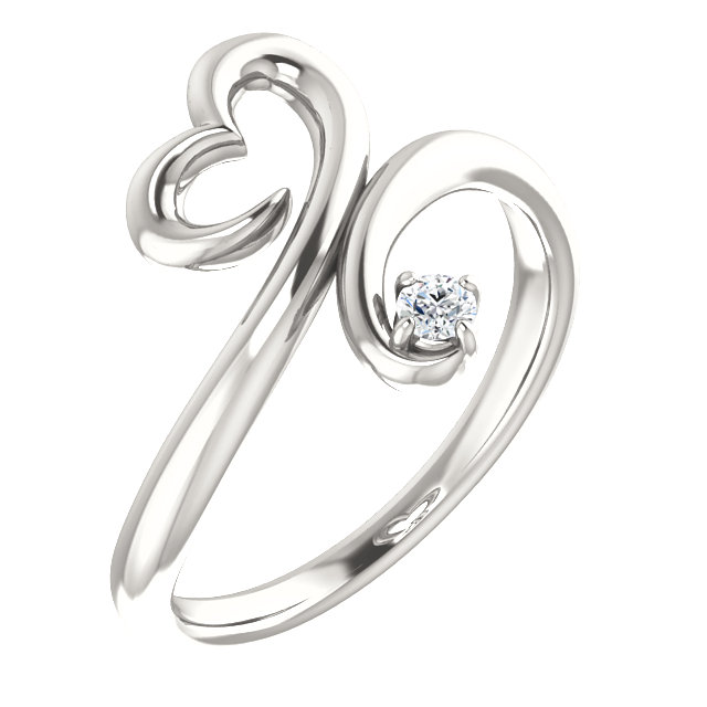 Stunning Sterling Silver .06 Carat Total Weight Diamond Heart Ring