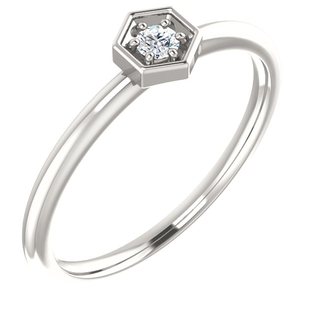 Chic Sterling Silver .06 Carat Total Weight Diamond Hexagon Stackable Ring