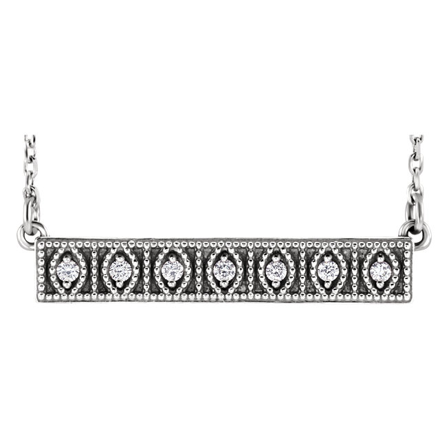 Perfect Gift Idea in Sterling Silver .06 Carat Total Weight Diamond Milgrain Bar 16-18