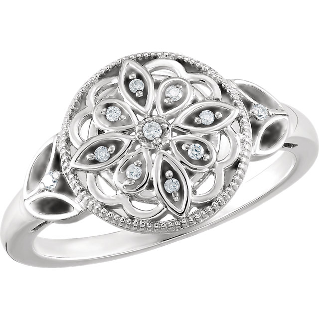 Contemporary Sterling Silver .06 Carat Total Weight Diamond Ring Size 7