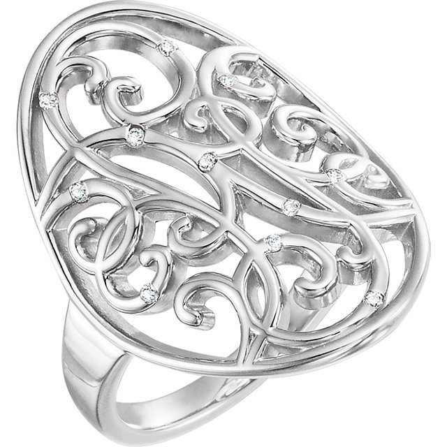 Perfect Jewelry Gift Sterling Silver .06 Carat Total Weight Diamond Scroll Bead Blast Ring Size 8