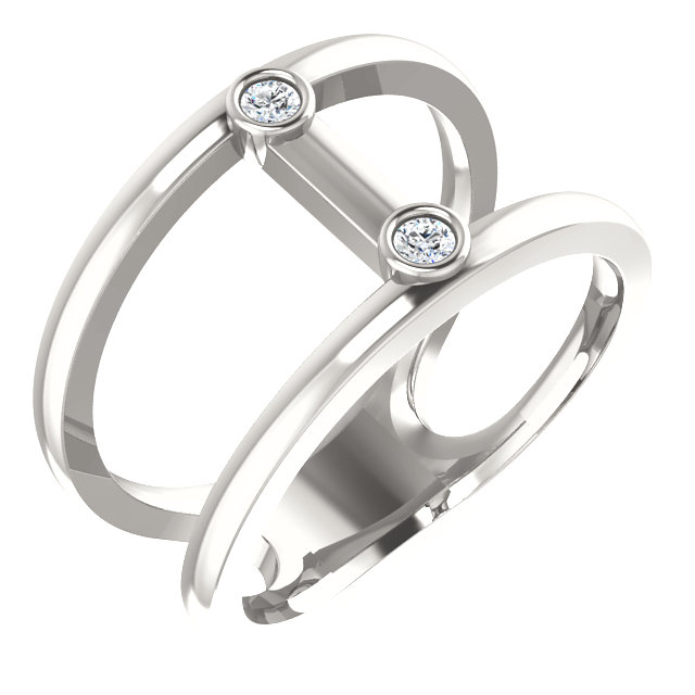 Appealing Jewelry in Sterling Silver .06 Carat Total Weight Diamond Two-Stone Negative Space Ring