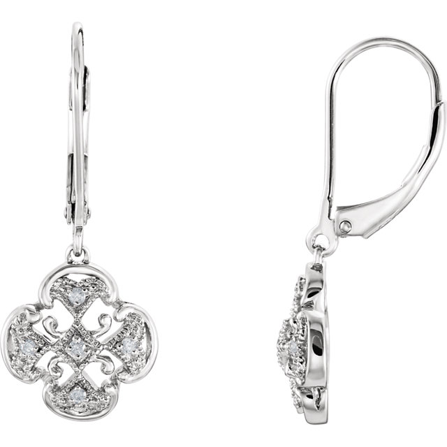 Genuine  Sterling Silver .07 Carat TW Diamond Accented Lever Back Earrings