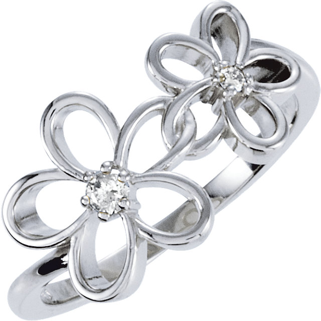 Must See Sterling Silver .07 Carat Total Weight Diamond Floral-Inspired Ring