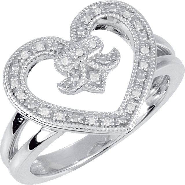 Chic Sterling Silver .07 Carat Total Weight Diamond Heart & Fleur-De-Lis Design Ring Size 6