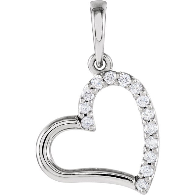 Sterling Silver .07 Carat Total Weight Diamond Heart Pendant