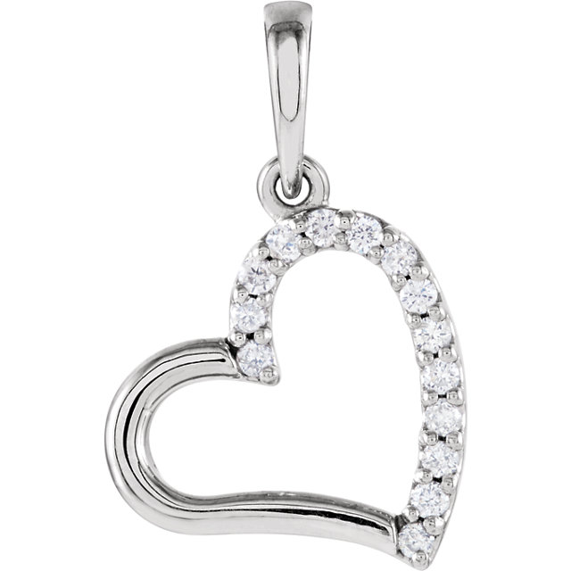Sterling Silver .07 Carat TW Diamond Heart Pendant