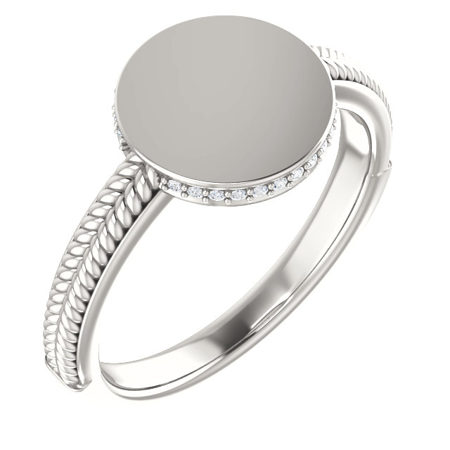 Low Price on Quality Sterling Silver .07 Carat TW Diamond Ladies Signet Ring