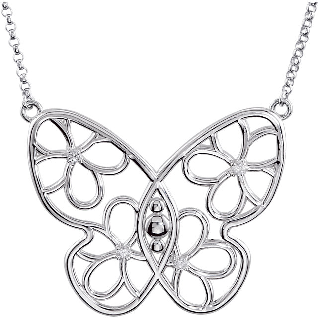 Eye Catchy Sterling Silver .08 Carat Total Weight Diamond Butterfly & Floral-Inspired 18