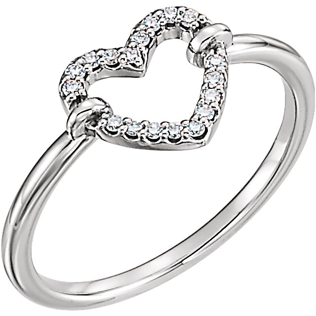 Must See Sterling Silver .08 Carat Total Weight Diamond Heart Ring
