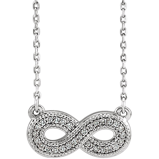 Stunning Sterling Silver .08 Carat Total Weight Diamond Infinity-Inspired 16-18