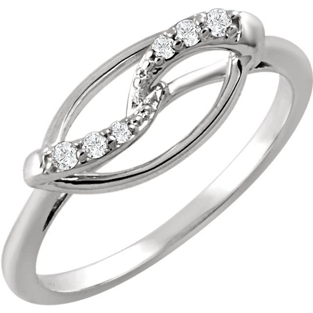 Deal on Sterling Silver .08 Carat TW Diamond Ring