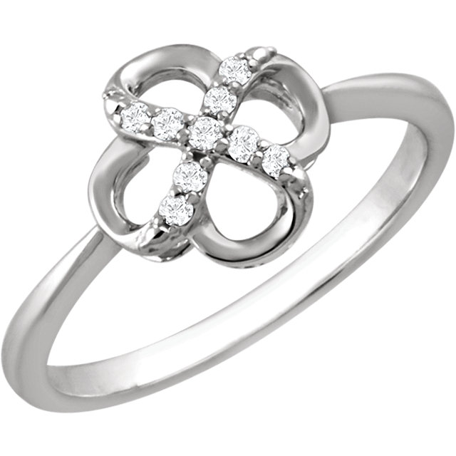 Perfect Gift Idea in Sterling Silver .08 Carat Total Weight Diamond Ring