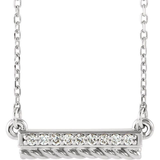 Easy Gift in Sterling Silver .08 Carat Total Weight Diamond Rope Bar 16-18