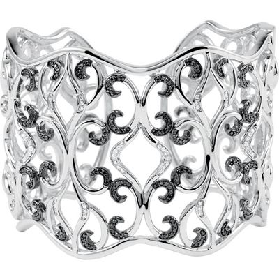 Fine Quality Sterling Silver 1 0.33 Carat Total Weight Diamond Cuff Bracelet