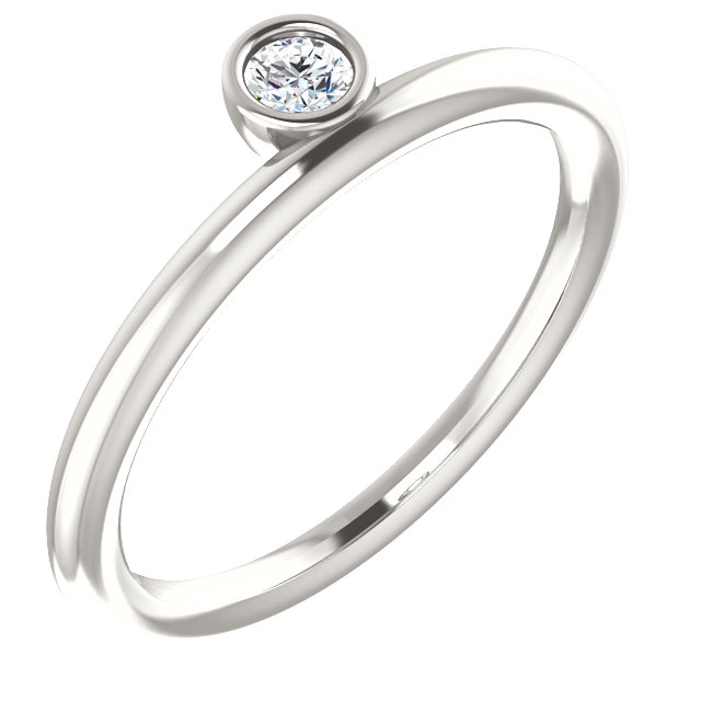Great Gift in Sterling Silver 0.10 Carat Total Weight Diamond Asymmetrical Stackable Ring