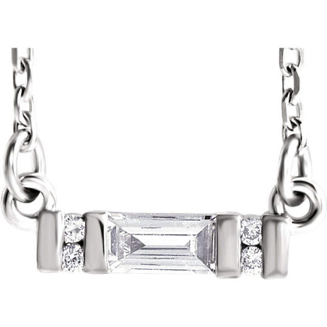 Must See Sterling Silver 0.10 Carat Total Weight Diamond Bar 16-18