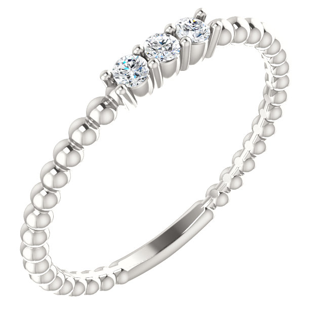 Stunning Sterling Silver 0.10 Carat Total Weight Diamond Beaded Ring