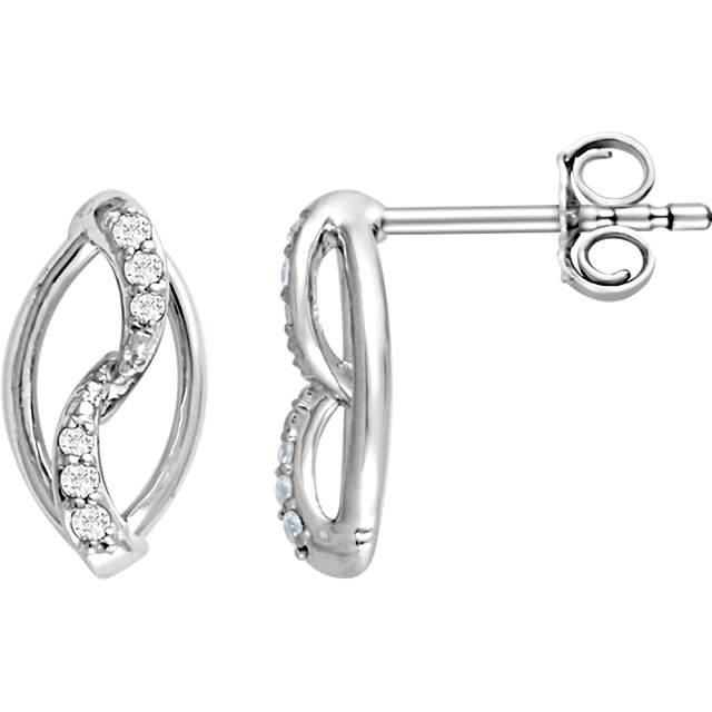 Great Buy in Sterling Silver 0.10 Carat Total Weight Diamond Earrings