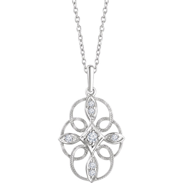 Chic Sterling Silver  0.10 Carat Total Weight Diamond Filigree 16-18