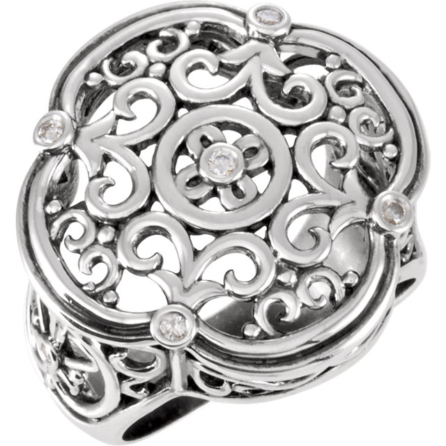 Jewelry in Sterling Silver 0.10 Carat TW Diamond Filigree Ring