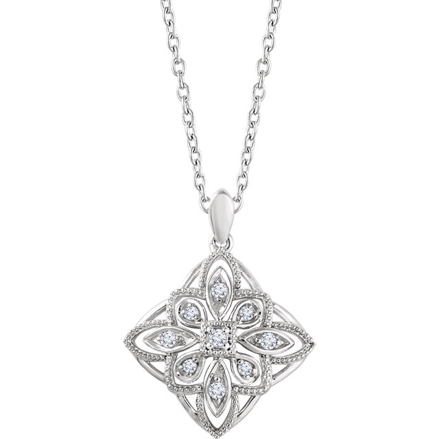 Eye Catchy Sterling Silver 0.10 Carat Total Weight Diamond Granulated Filigree 18