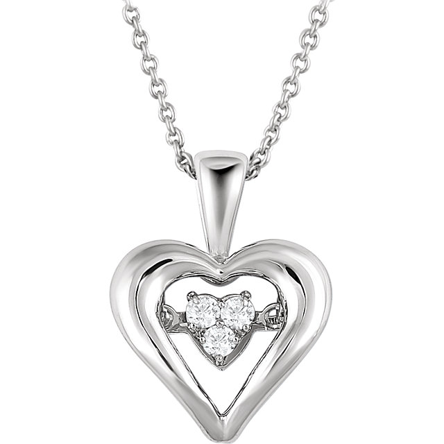 Sterling Silver 1/10 Carat Round Genuine Diamond Heart 18