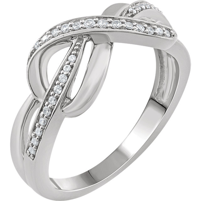 Perfect Gift Idea in Sterling Silver 0.10 Carat Total Weight Diamond Infinity-Inspired Ring