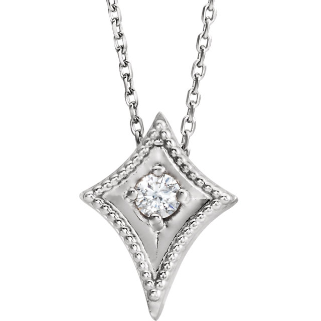 Contemporary Sterling Silver 0.10 Carat Total Weight Diamond Kite 16-18