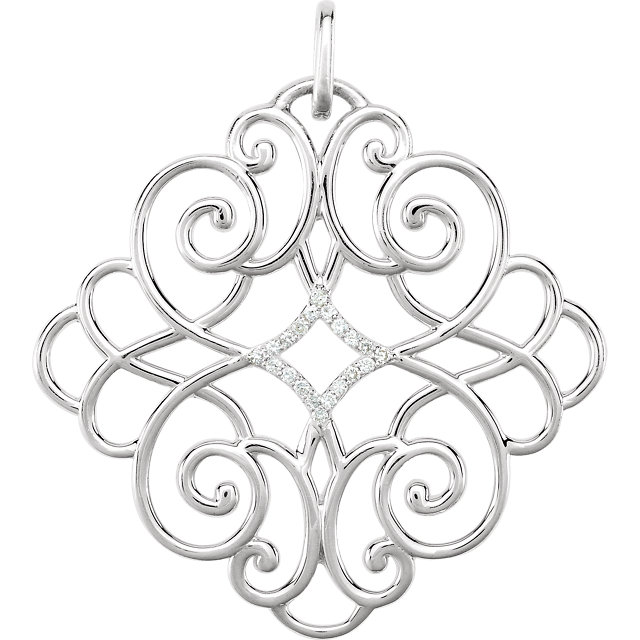 Appealing Jewelry in Sterling Silver 0.10 Carat Total Weight Diamond Pendant