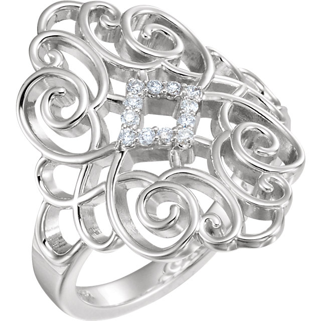 Fine Quality Sterling Silver 0.10 Carat Total Weight Diamond Scroll Design Ring Size 6