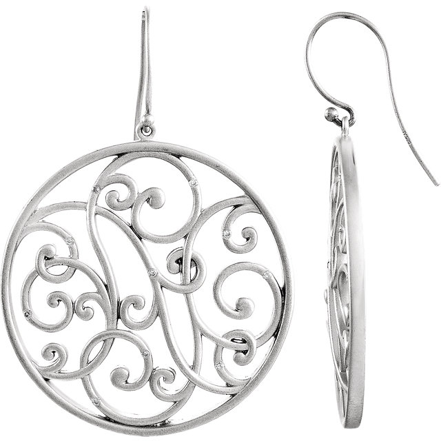 Contemporary Sterling Silver 0.10 Carat Total Weight Diamond Scroll Earrings