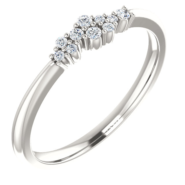 Easy Gift in Sterling Silver 0.10 Carat Total Weight Diamond Stackable Cluster Ring