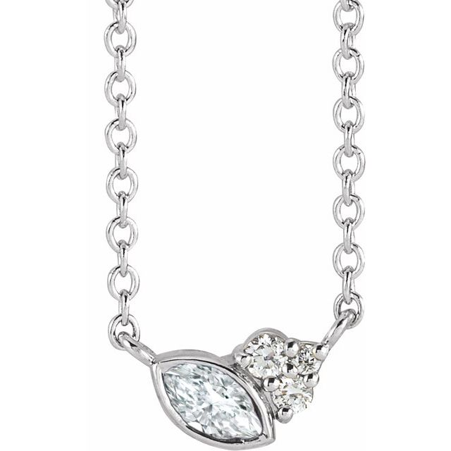 Real Diamond Necklace in Sterling Silver 1/10 Carat Diamond 18