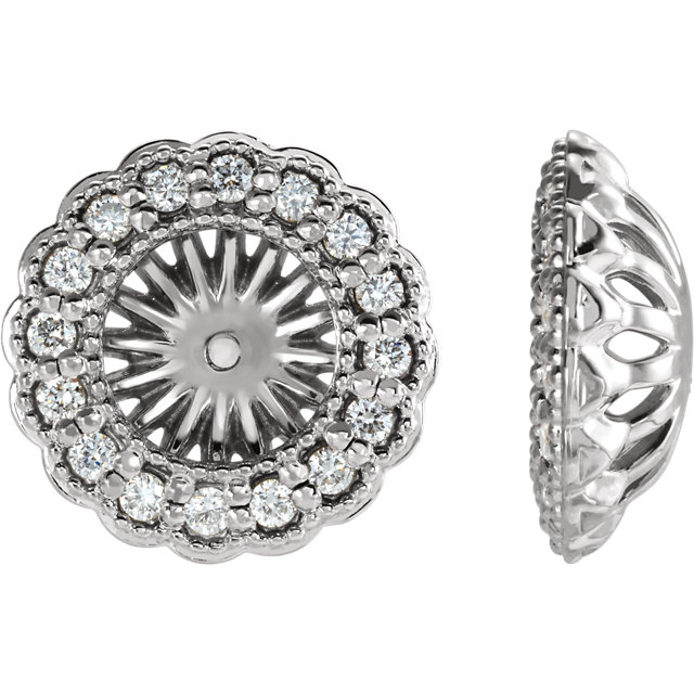 Appealing Jewelry in Sterling Silver 0.50 Carat Total Weight Diamond Earring Jackets